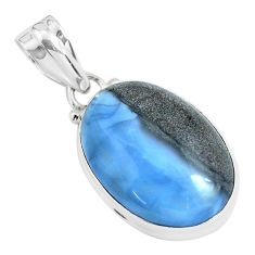 925 sterling silver 14.23cts natural blue owyhee opal oval shape pendant p46175