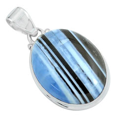 925 sterling silver 21.48cts natural blue owyhee opal oval shape pendant p59611