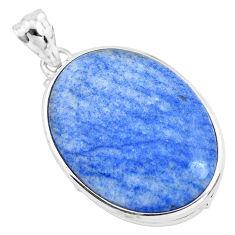 925 sterling silver 25.00cts natural blue quartz palm stone oval pendant p40704