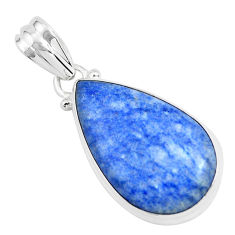 925 sterling silver 15.65cts natural blue quartz palm stone pear pendant p46245