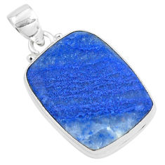 925 sterling silver 17.57cts natural blue quartz palm stone pendant p40712