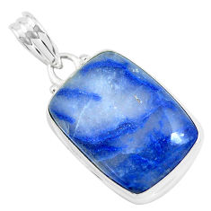 925 sterling silver 16.20cts natural blue quartz palm stone pendant p46249