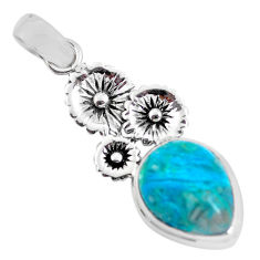 925 sterling silver 10.02cts natural blue shattuckite flower pendant p55328
