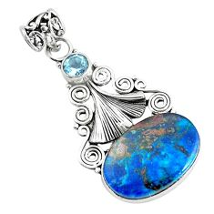 925 sterling silver 13.55cts natural blue shattuckite oval topaz pendant d31848