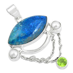 925 sterling silver 16.20cts natural blue shattuckite peridot pendant d31804