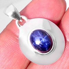 925 sterling silver 3.89cts natural blue star sapphire pendant jewelry d32511