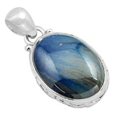 925 sterling silver 14.23cts natural blue swedish slag pendant jewelry p85324