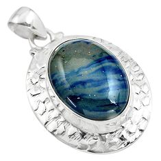 925 sterling silver 21.30cts natural blue swedish slag pendant jewelry p85399