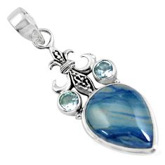 925 sterling silver 14.63cts natural blue swedish slag topaz pear pendant p55248
