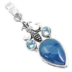 925 sterling silver 14.72cts natural blue swedish slag topaz pendant p55244