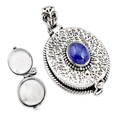 925 sterling silver 3.38cts natural blue tanzanite poison box pendant p92876