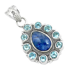 Clearance Sale- 925 sterling silver 6.72cts natural blue tanzanite topaz pendant jewelry d31875