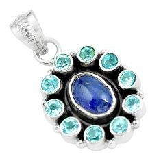 Clearance Sale- 925 sterling silver 7.17cts natural blue tanzanite topaz pendant jewelry d31964