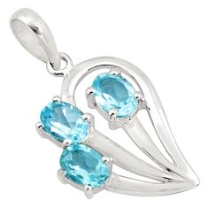 925 sterling silver 4.52cts natural blue topaz oval pendant jewelry p82070