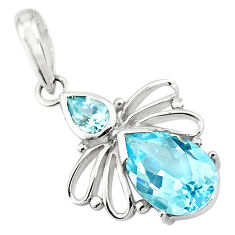 925 sterling silver 5.24cts natural blue topaz pear pendant jewelry p82468