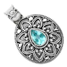925 sterling silver 2.65cts natural blue topaz pear pendant jewelry p86253