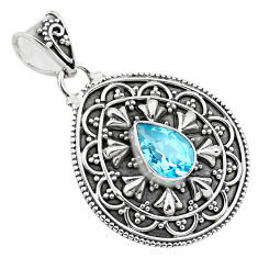 925 sterling silver 2.10cts natural blue topaz pear pendant jewelry p86296