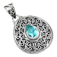 925 sterling silver 2.12cts natural blue topaz pear pendant jewelry p90227