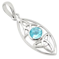 925 sterling silver 1.24cts natural blue topaz round pendant jewelry p82024