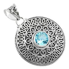 925 sterling silver 2.82cts natural blue topaz round pendant jewelry p86272