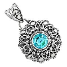 925 sterling silver 2.46cts natural blue topaz round pendant jewelry p86313