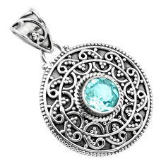 925 sterling silver 2.58cts natural blue topaz round pendant jewelry p86331