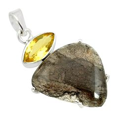 925 sterling silver 16.49cts natural brown agni manitite citrine pendant p70879