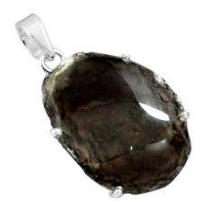 925 sterling silver 19.68cts natural brown agni manitite pendant jewelry p68639
