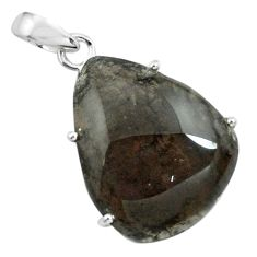 925 sterling silver 16.88cts natural brown agni manitite pendant jewelry p68653