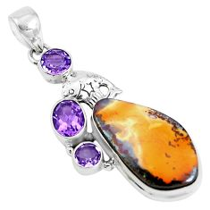 925 sterling silver 24.62cts natural brown boulder opal amethyst pendant p43272