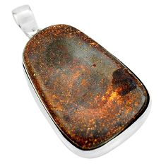 925 sterling silver 39.26cts natural brown boulder opal pendant jewelry p65183