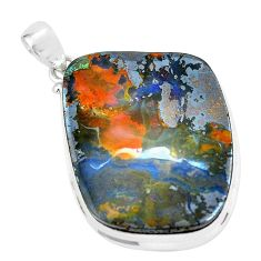 925 sterling silver 41.13cts natural brown boulder opal pendant jewelry p65189