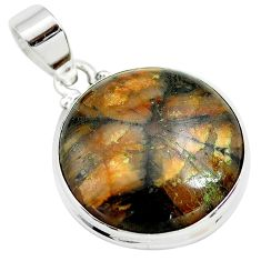 925 sterling silver 22.02cts natural brown chiastolite pendant jewelry p71999