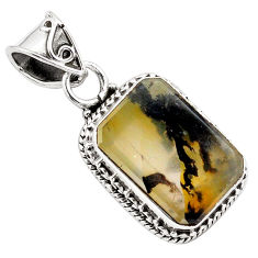 925 sterling silver 9.72cts natural brown dendritic quartz pendant p84617