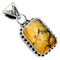 925 sterling silver 9.14cts natural brown dendritic quartz pendant p84620