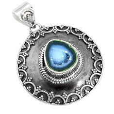925 sterling silver 6.02cts natural brown geode druzy pendant jewelry p33417