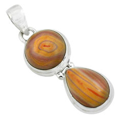 925 sterling silver 10.64cts natural brown heckonite rainbow pendant p67400