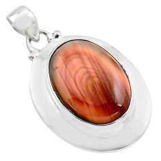 925 sterling silver 18.98cts natural brown imperial jasper oval pendant p85192