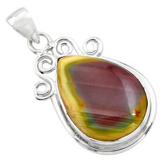 925 sterling silver 17.57cts natural brown imperial jasper pear pendant p85195