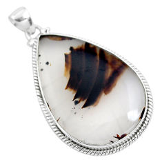 925 sterling silver 31.53cts natural brown montana agate pear pendant p40770