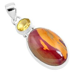 925 sterling silver 18.68cts natural brown mookaite citrine pendant p40549