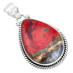 925 sterling silver 19.72cts natural brown moroccan seam agate pendant p41178