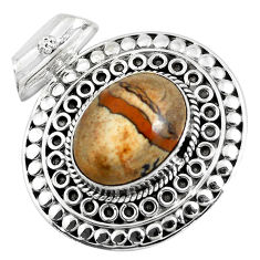 925 sterling silver 11.54cts natural brown picture jasper pendant jewelry d31124