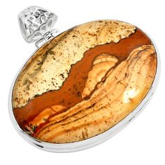 925 sterling silver 38.70cts natural brown picture jasper pendant jewelry p46825