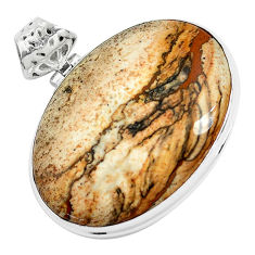 925 sterling silver 38.70cts natural brown picture jasper pendant jewelry p46838
