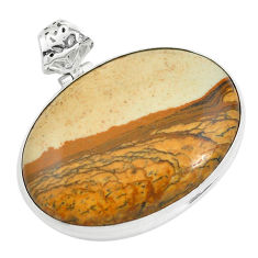 925 sterling silver 33.29cts natural brown picture jasper pendant jewelry p59227