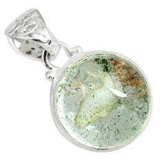 925 sterling silver 20.88cts natural brown scenic lodolite round pendant p79049