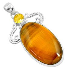 925 sterling silver 38.33cts natural brown tiger's eye citrine pendant d31069