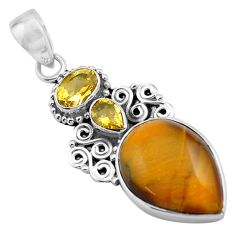 925 sterling silver 14.72cts natural brown tiger's eye citrine pendant p84728