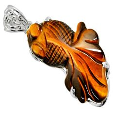 925 sterling silver 34.48cts natural brown tiger's eye fancy fish pendant d32532